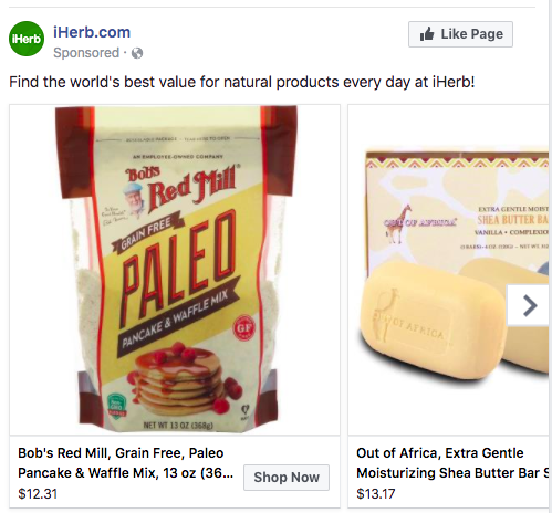 Retarget your audience with product shots related to products.