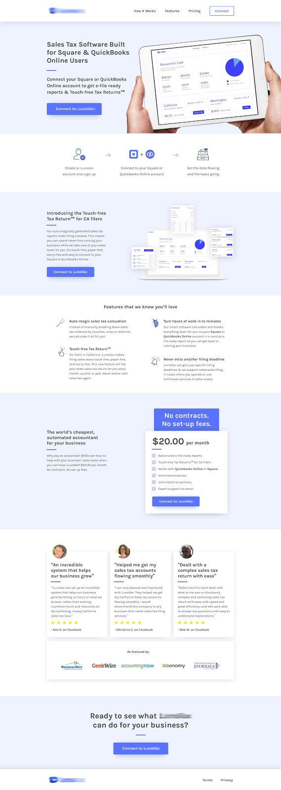 Sales tax software landing page designed by Aaron Packard