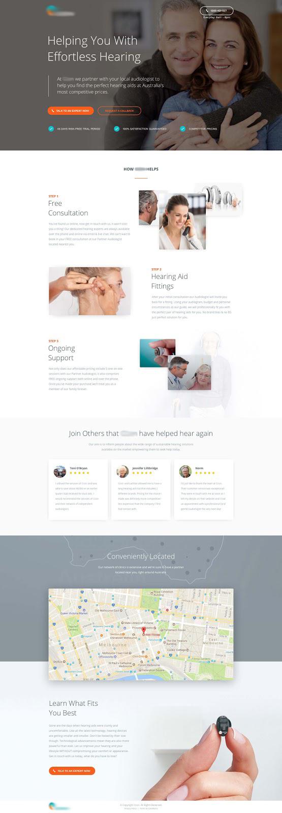 Hearing aid distributor landing page designed by Beavis Hari