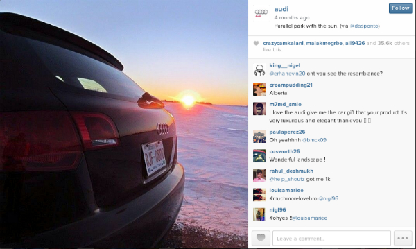 Audi taking advantage of a skilled photographer and happy customer