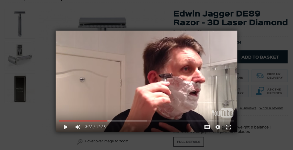 Some UGC of a customer testing out his new razor with a fresh shave