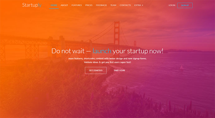 "Startuply uses a really strong color gradient to highlight the word ""launch""."