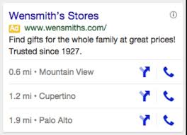 This example uses location and call ad extensions.