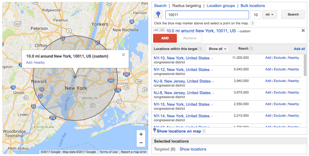 The width of your radius is all up to you.