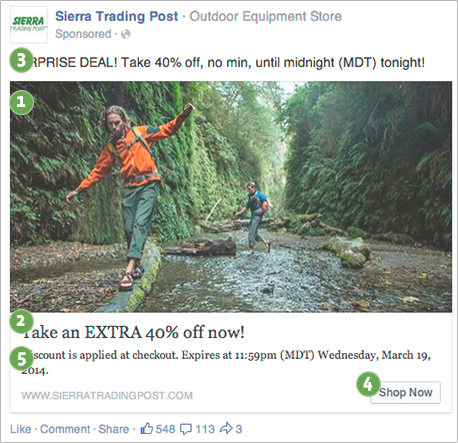 An example straight from Facebook's Link Ad Best Practices