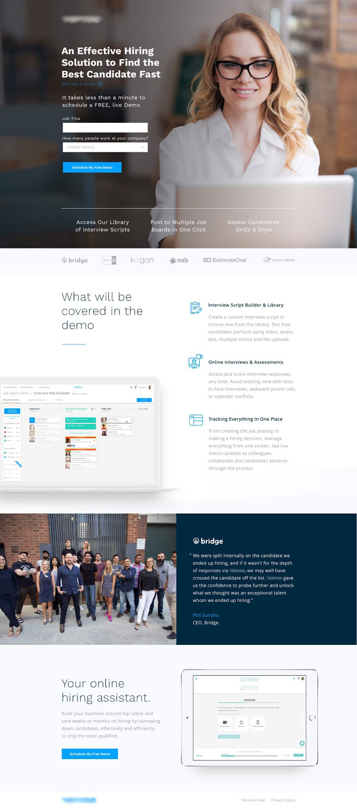 Hiring software landing page designed by Beavis Hari