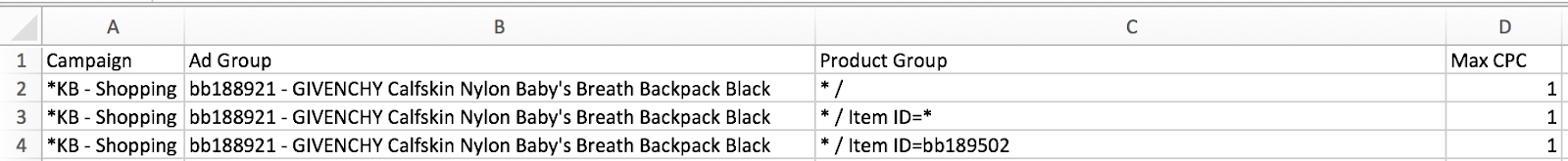 You'll need three of every ad group name to account for the way Google Ads Editor processes product groups.