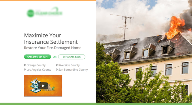 Fire-Damaged Home landing page video specific for Fire-Damaged Home campaign.