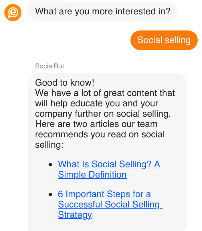 EveryoneSocial guides you through the process based on what you are interested in.
