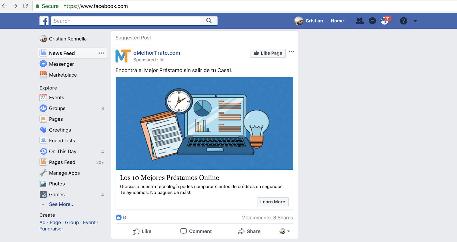 Facebook ad for oMelhorTrato that customers click
