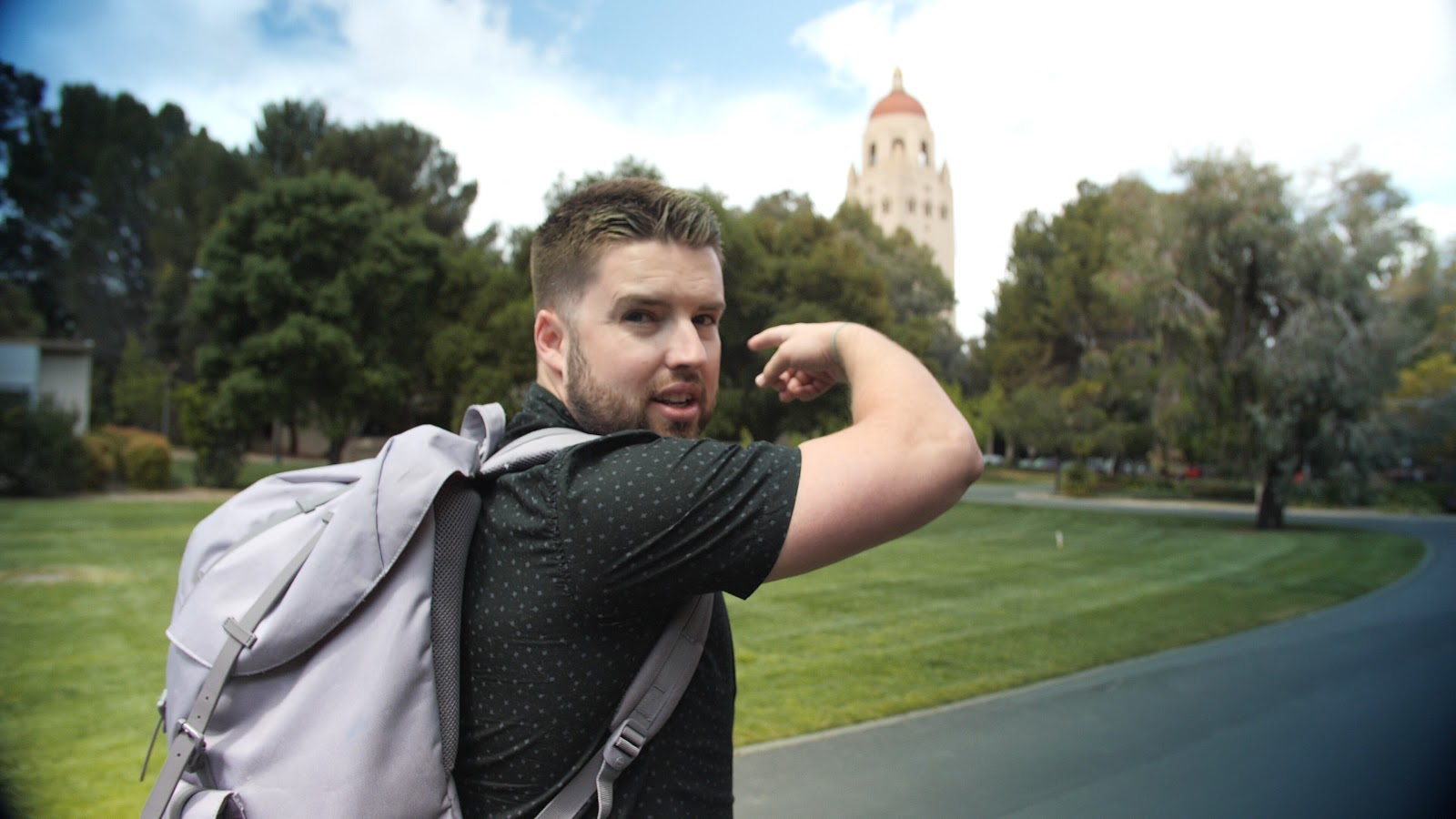 That's me being horrible at pointing at a building on Stanford campus