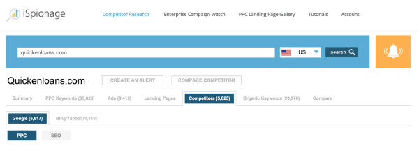 It even helps you see competitor landing pages, too.