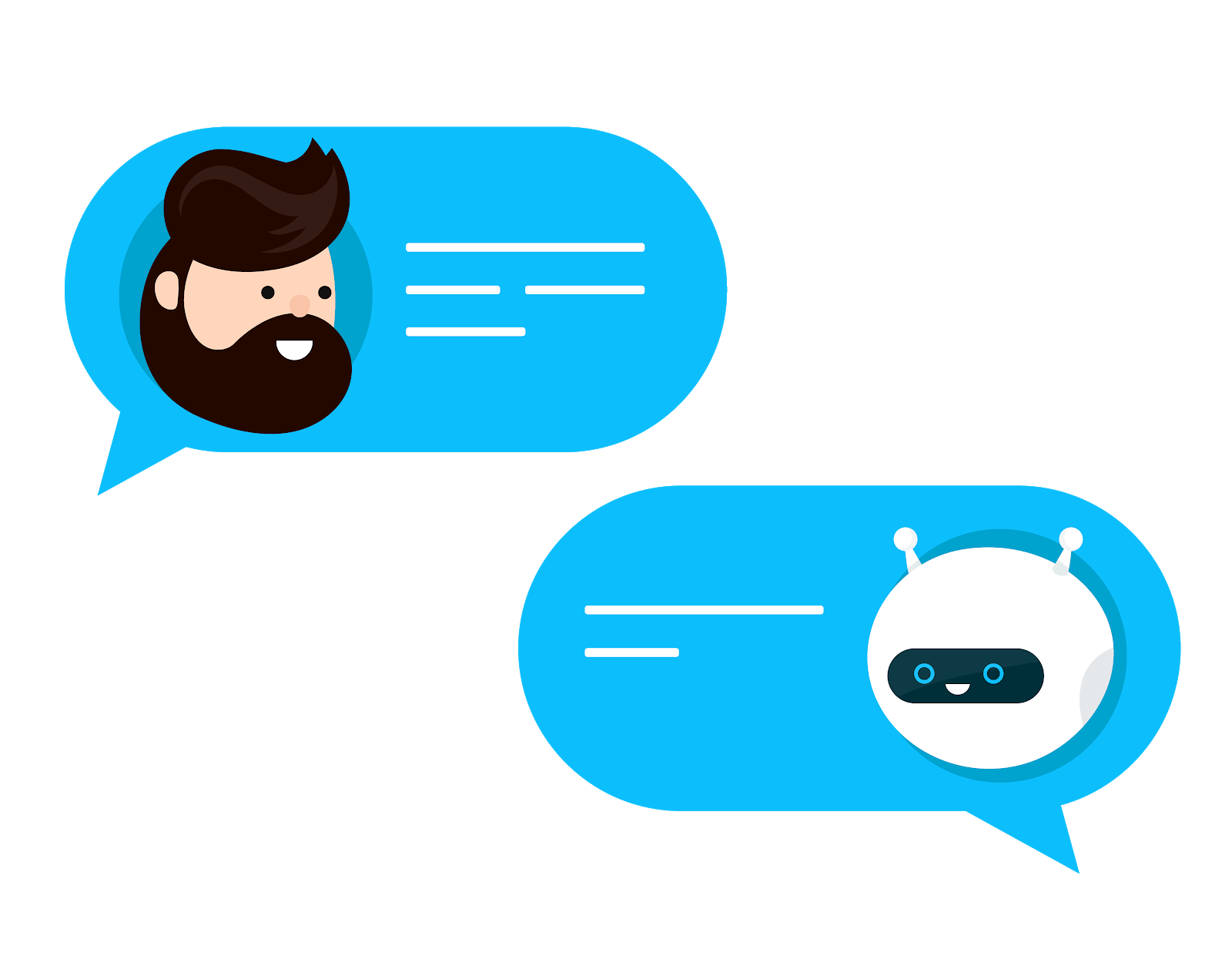 An adorable depiction of a user and chatbot talking to each other