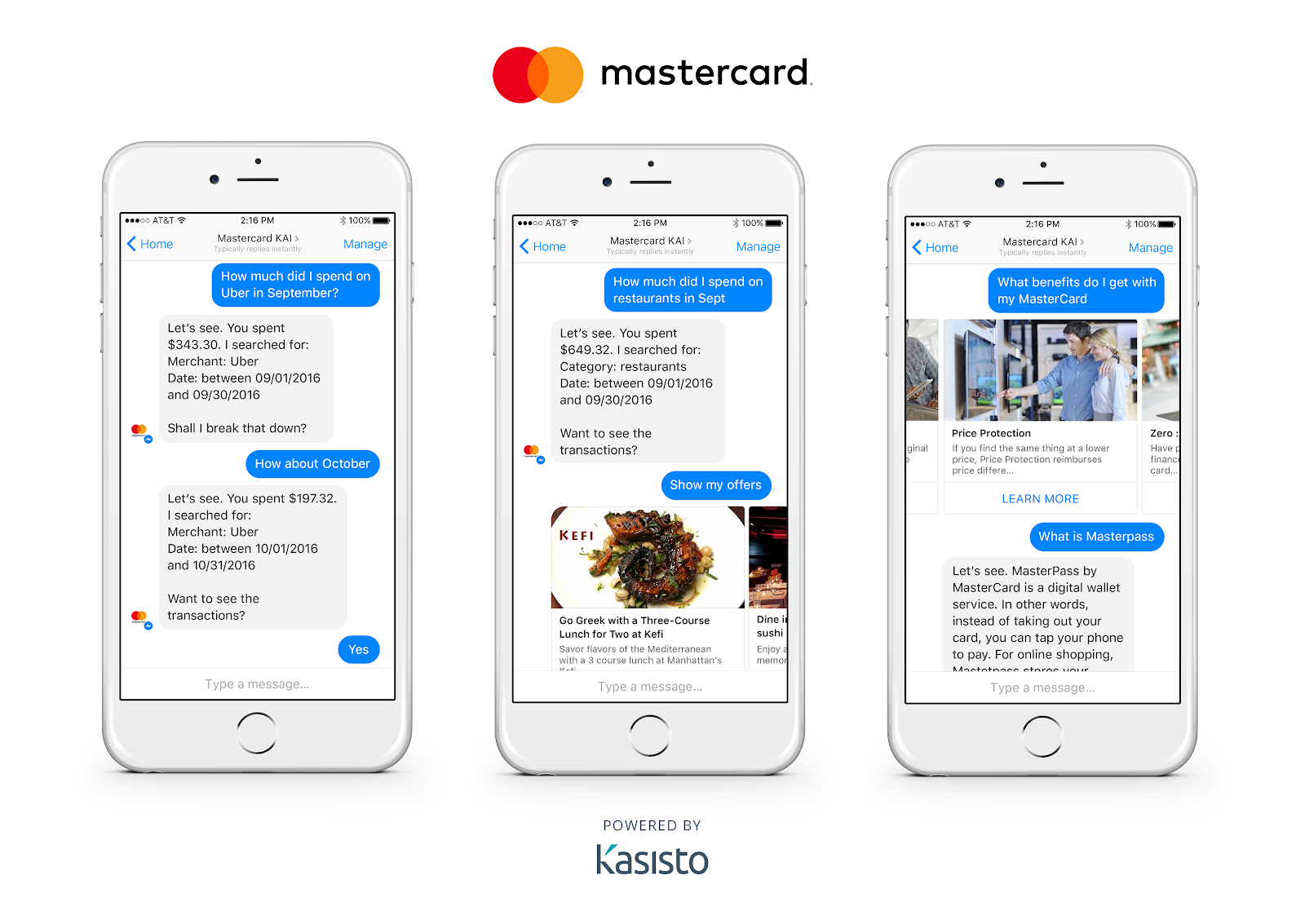 Mastercard's chatbot helps you manage your bank account quickly.