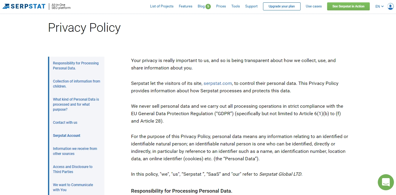 Serpstat Privacy Policy - GDPR compliance example