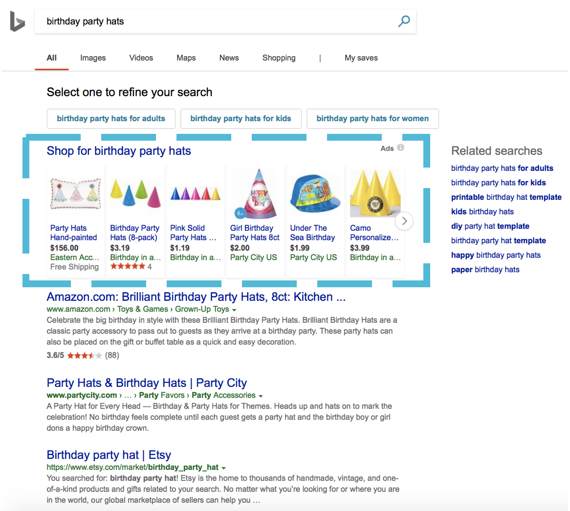 Bing Shopping image 2: product ads screenshot