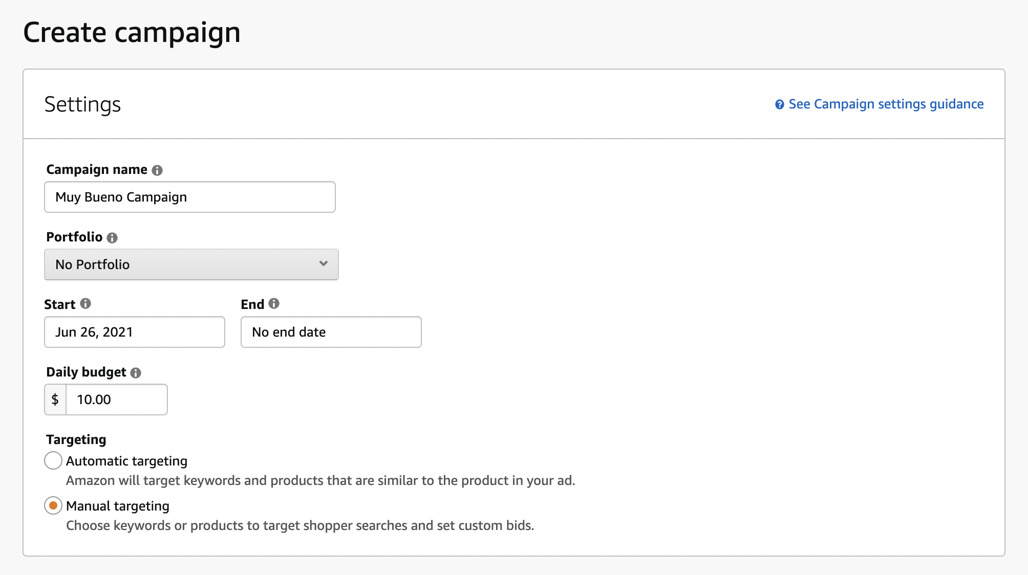 Set your campaign name, portfolio, dates, budget, and targeting type