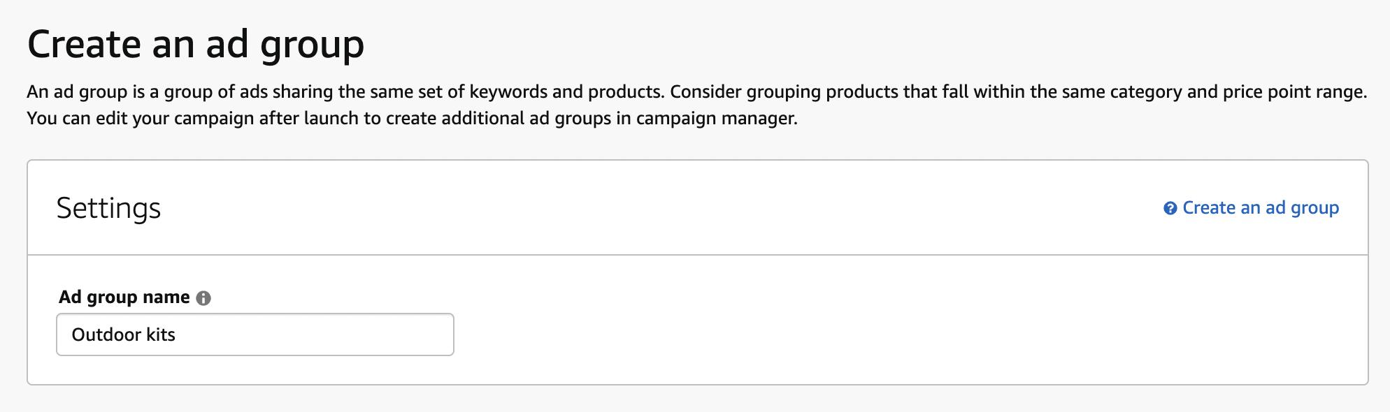 Create an ad group