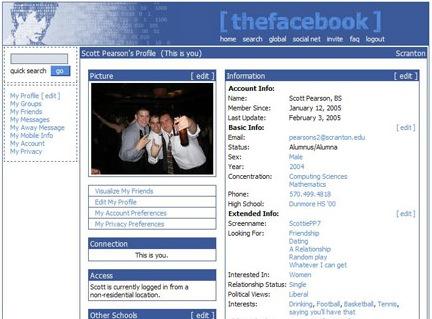 Facebook page circa 2005