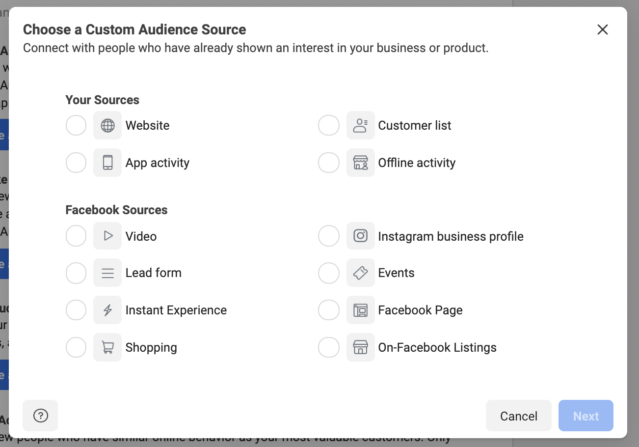 Facebook Custom Audience Options