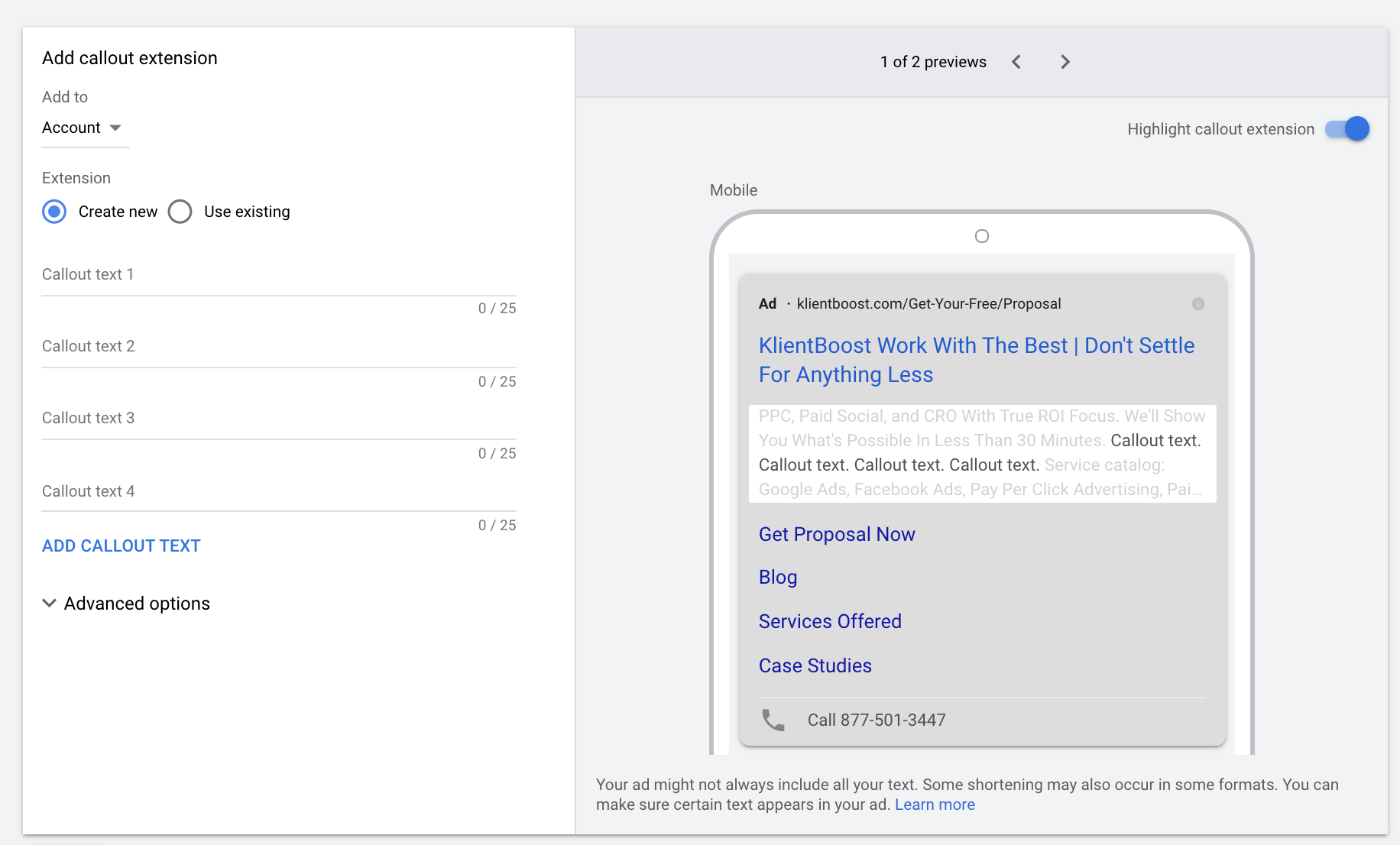 Google Ad Manager Callouts Extension