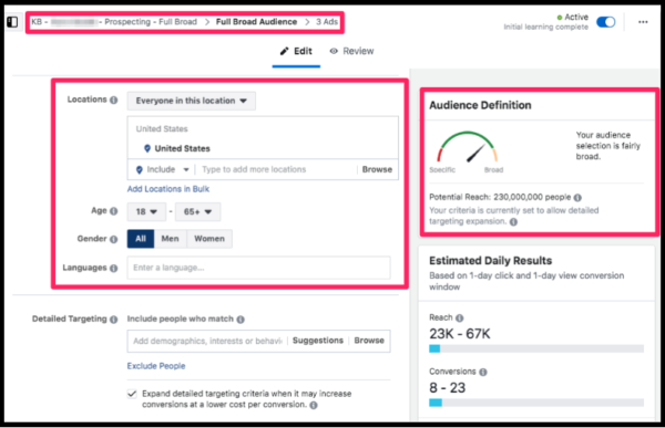 full broad 3 scaling facebook ads