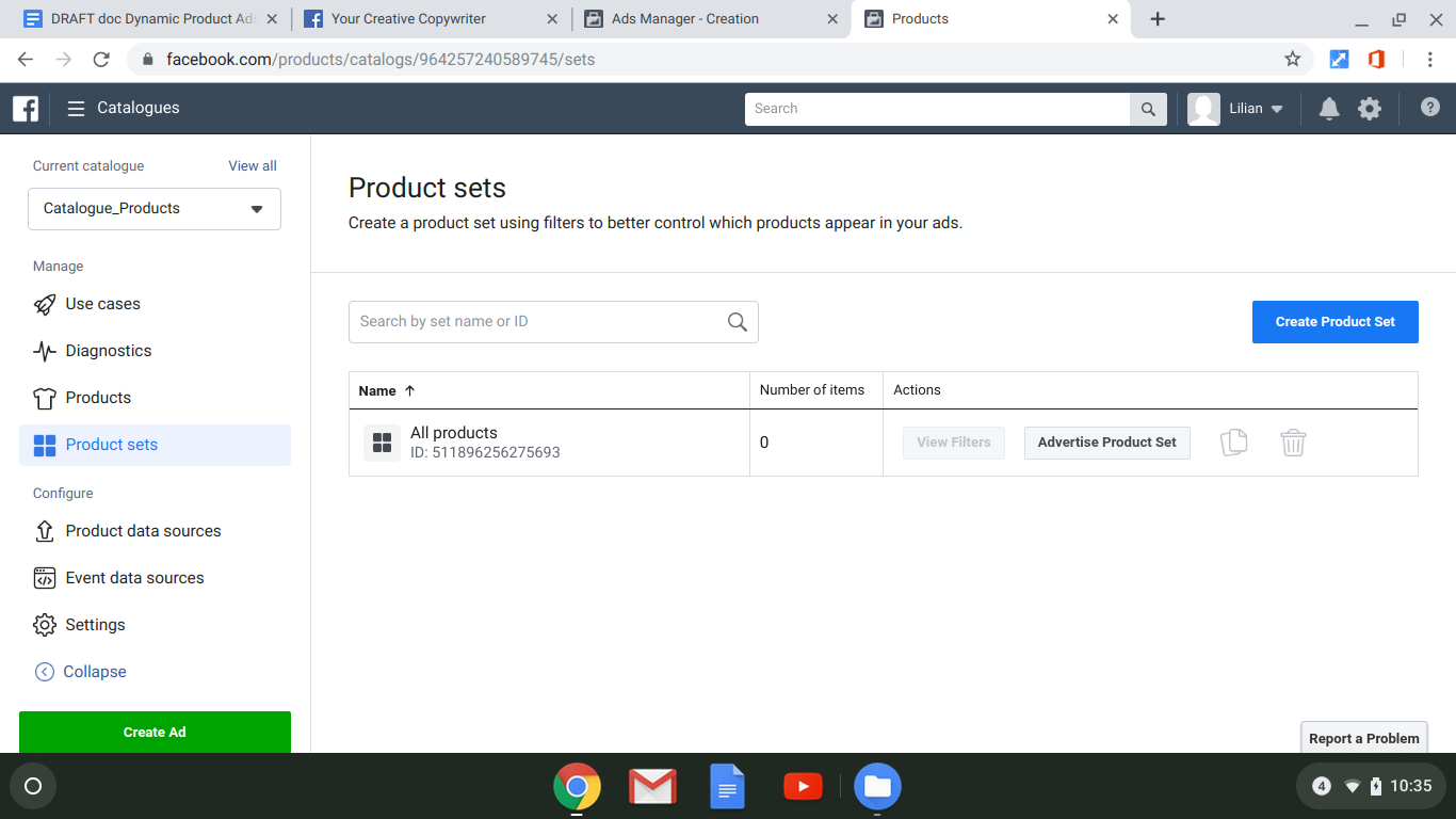 screenshot: creating product sets in your facebook catalog