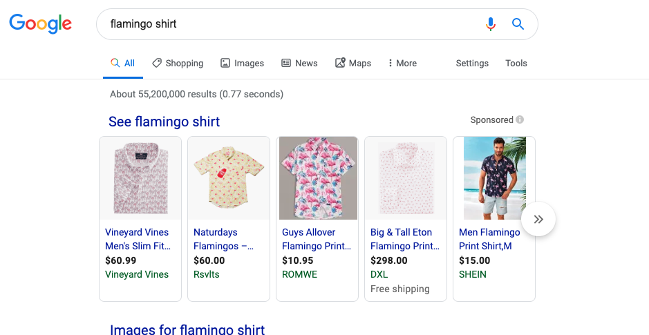Google Shopping Statistics ad example