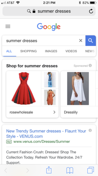 Google Shopping Statistics showcase ad