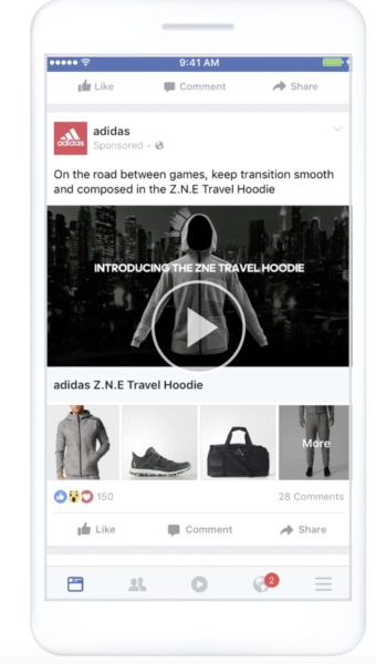 screenshot of a product based facebook canvas ad example