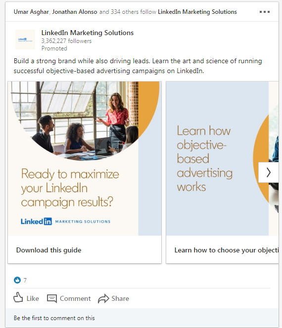 a screenshot example of some linkedin sponsored content