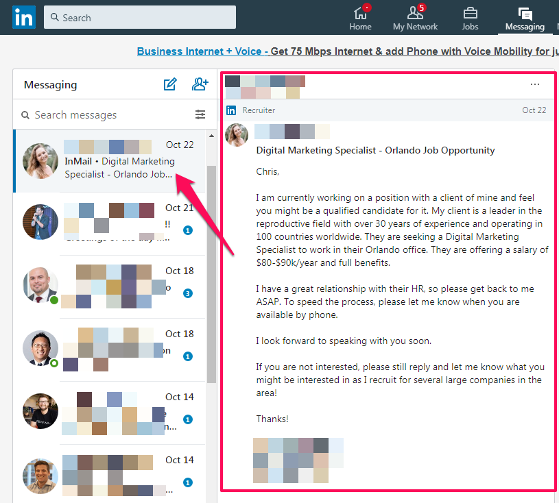 another example of linkedin sponsored inmails