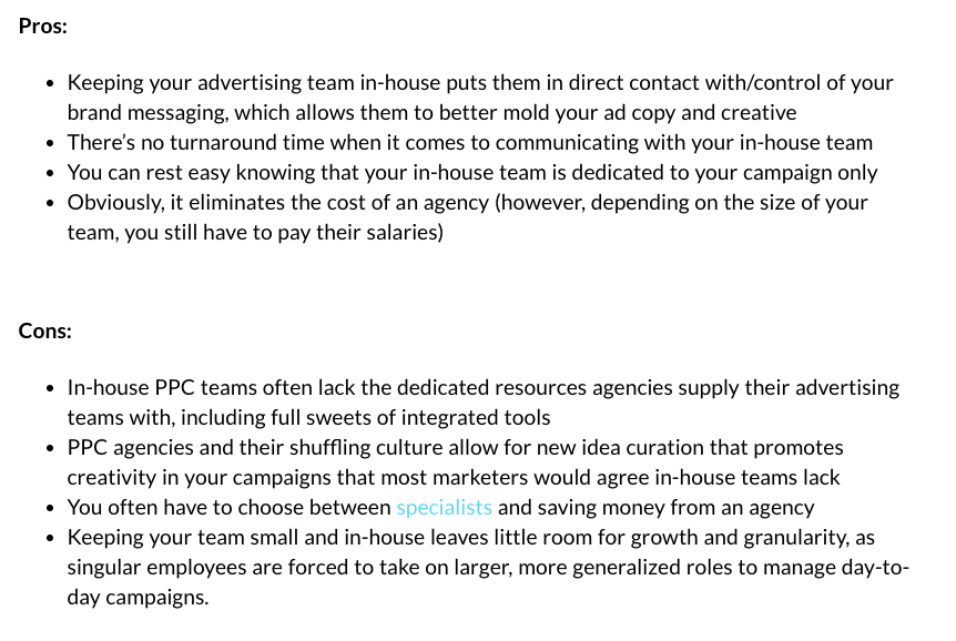 screenshots of a pros and cons list of outsourcing a PPC agency for your digital advertising versus keeping your PPC team in-house