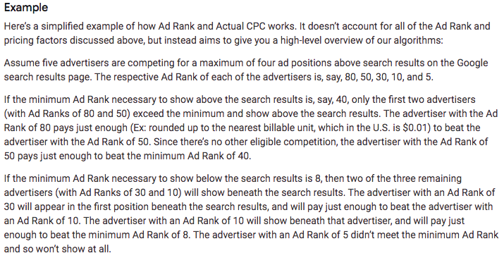 CPC definition from Google's example: a simplified Ad Rank and Actual CPC calculation.