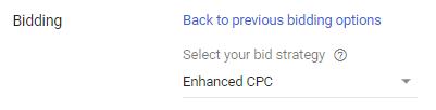 bidding selection screenshot for Enhanced CPC