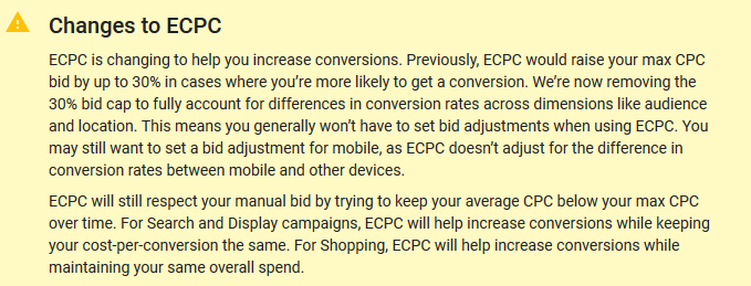 Recent changes to the eCPC calculation and the 30% limitation being removed.