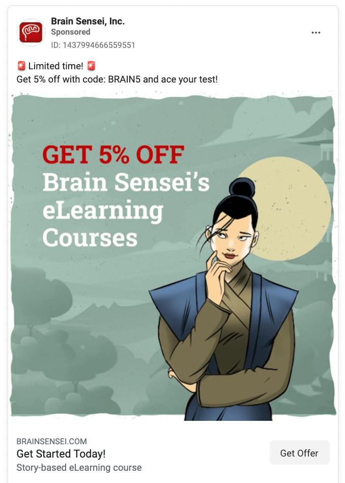Brain Sensei Facebook Ad Example