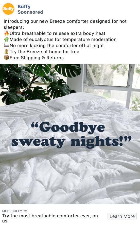 Buffy Facebook ad copy examples