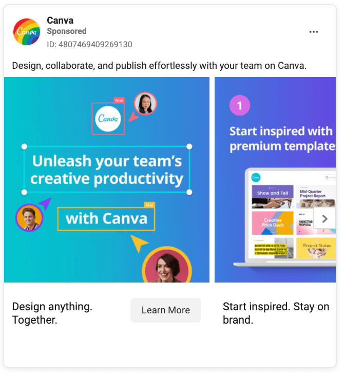 Canva Facebook Ad Example
