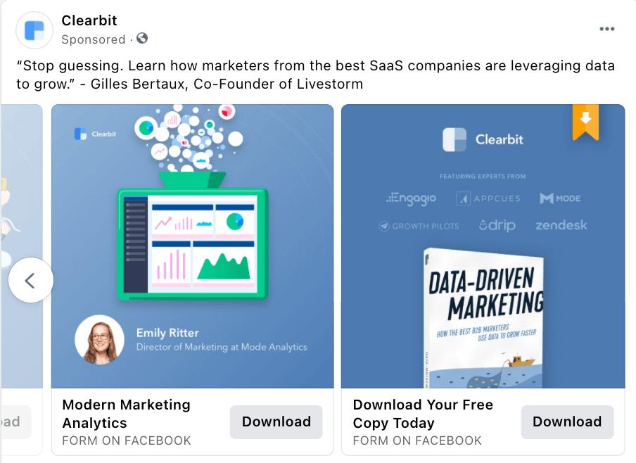 Clearbit  Carousel Facebook Ad Example