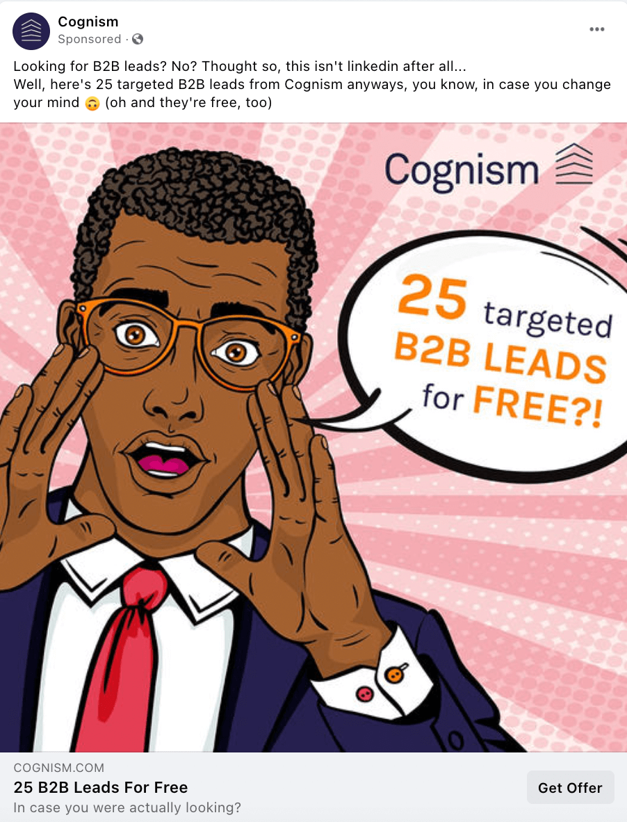 Cognism promotional offer Facebook ad example