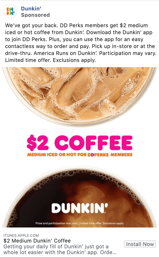 Dunkin promotional offer Facebook ad example