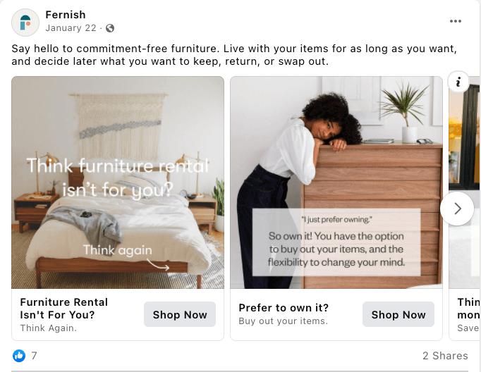 Fernish Facebook Ad Example