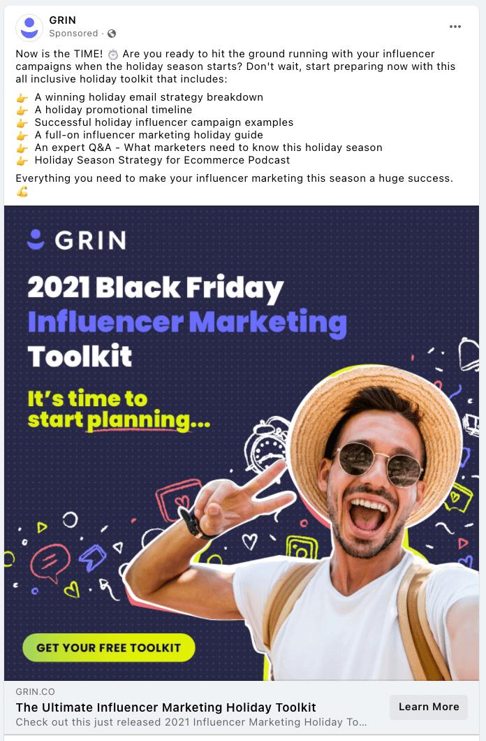 GRIN best Facebook brand awareness ad example