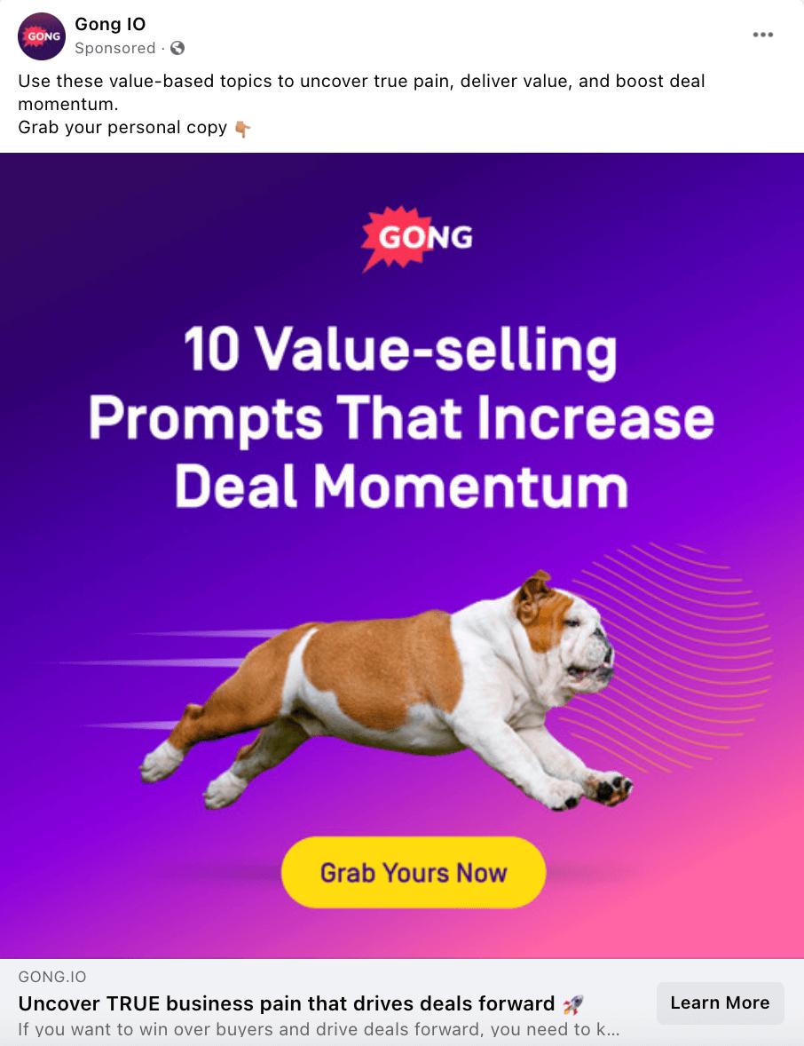 Gong.io best Facebook brand awareness ad example