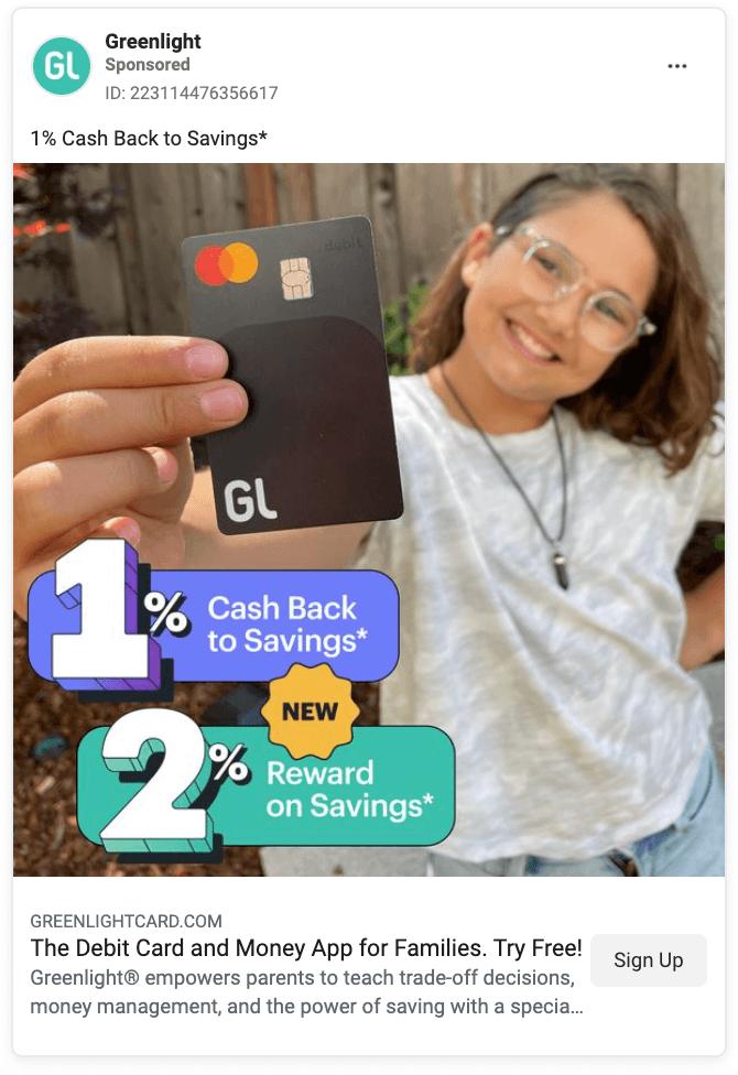 Greenlight Card Facebook Ad Example