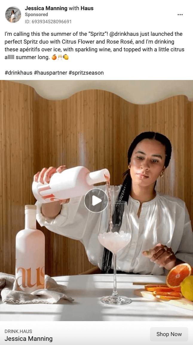 Haus best Facebook brand awareness ad example