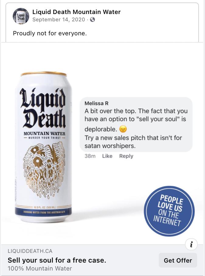 Liquid-Death Facebook ad copy examples