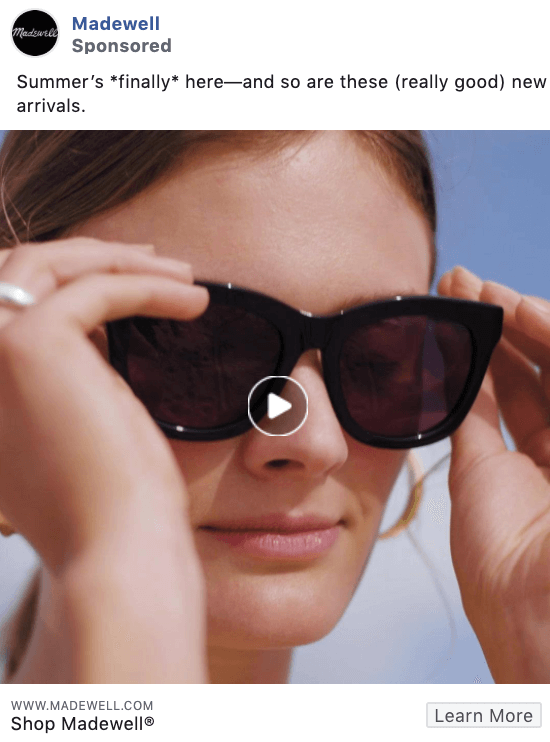 Madewell Facebook ad copy examples
