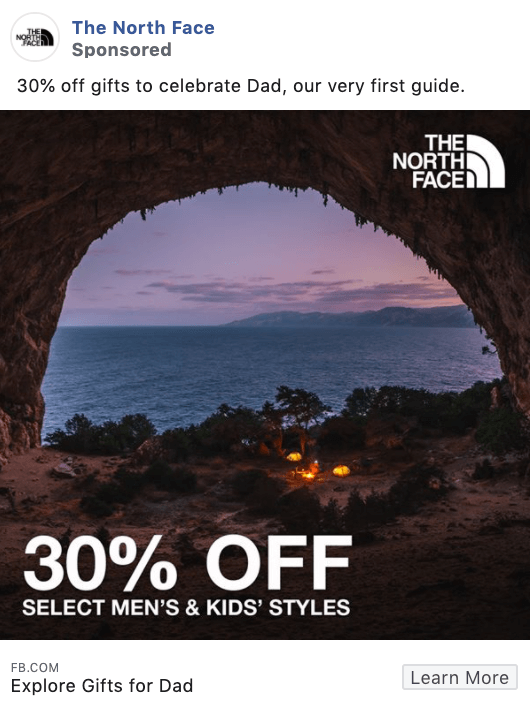 Northface promotional offer Facebook ad example